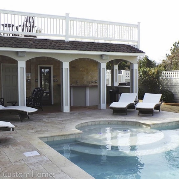 Sandmark Construction custom remodeled pool and cabana